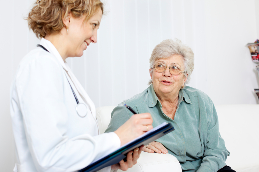 Elderly woman consulted by doctor