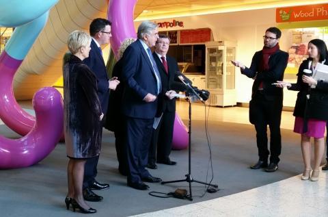 Premier, Minister and Melbourne Genomics addressing the media